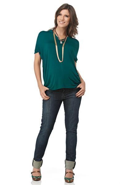 Moda Gestante - Blusa Mila e Calça Jeans Skinny - Maria Barriga